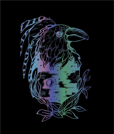 Neon illustration of a fairy raven with a feathers, night sky inside, stars and the moon.
