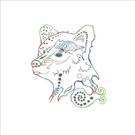 Gradient illustration of a psychodelic beautiful bear. The idea for a tattoo Imagens