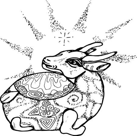 Black and white pattern of a bull with rays coming out of the head.