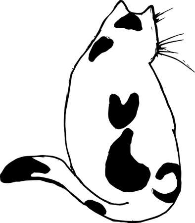 Black white pettern of a cat with a cat on his back. Tattoo idea Imagens