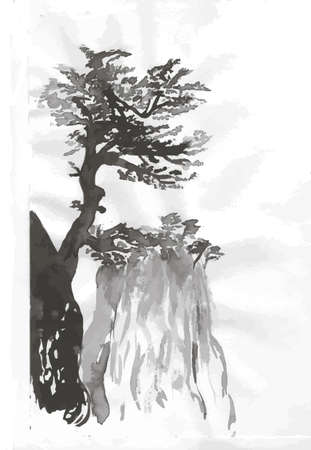 Black white mascara pattern of Chinese mountains and trees. Banco de Imagens
