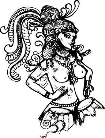 Illustration with the Divine dancer who plays drums festively dressed.