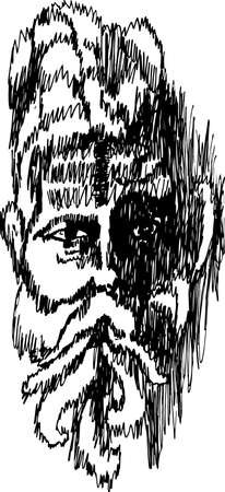 Illustration of an Indian old man wise. Deep gaze.