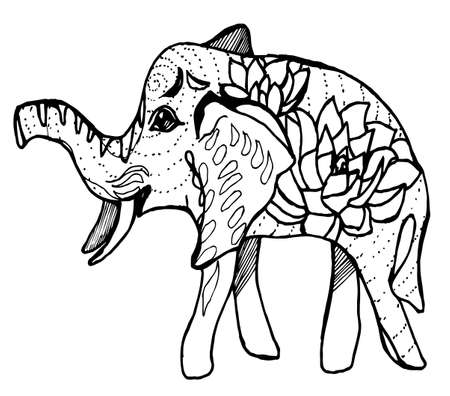Painting of a walking elephant with flowers and patterns on the side.