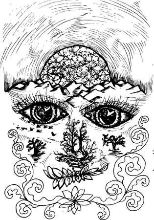 Pintura del espíritu de la tierra, ojos y tierra en perspectiva, el cuerpo cósmico.