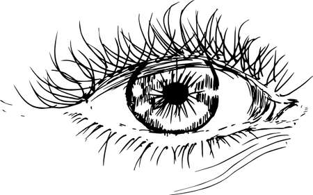 Painting with eye in the style of hatching. An idea for a tattoo.