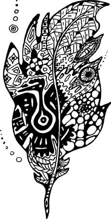 Pattern with feather in style of mayan tradition.