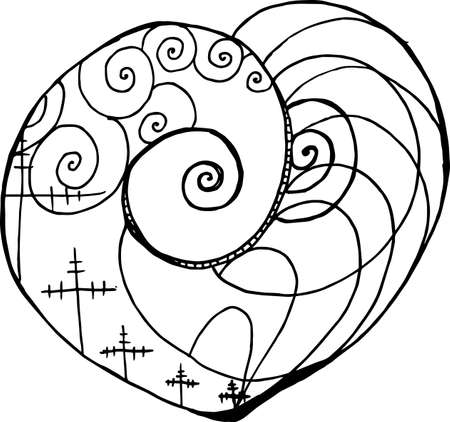 Pattern with tension pillars, spirals, waves inscribed in the heart. Technique and progress.
