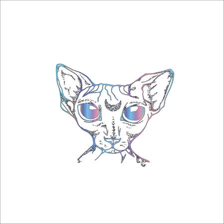 Illustration of the Canadian Sphynx with the moon in the forehead. An idea for a tattoo.