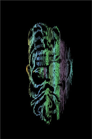Color neon illustration with portrait of an Indian old man wise. Deep gaze.