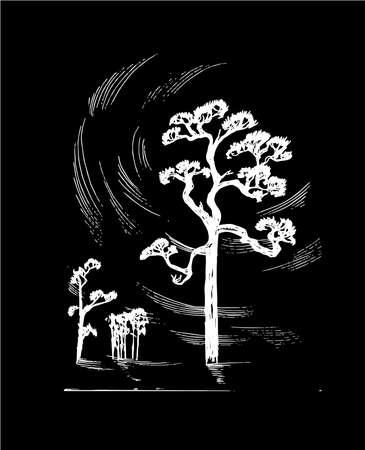 Illustration of trees and deep sky. Tattoo idea.