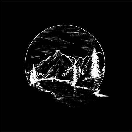 Illustration with mountains, firs and beautiful sky inscribed in a circle.