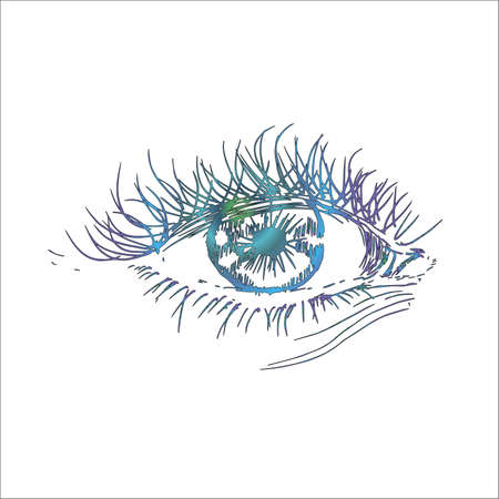Illustration with eye in the style of hatching. An idea for a tattoo. Illustration