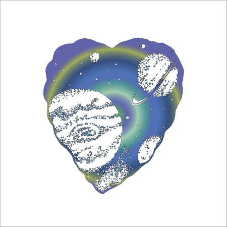 Neon illustration of a heart with space inside, saturn rings and planet. Tattoo idea  イラスト・ベクター素材