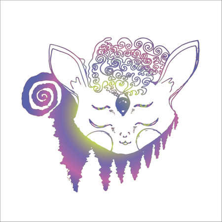 Illustration of a psychedellic animal in meditation, fractal trees, inversion.