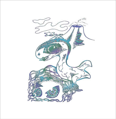 Illustration of a newborn dragon with the volcano on the background.