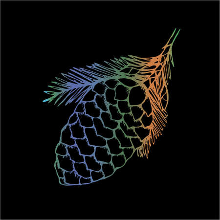 Neon illustration of a cone fir. Tattoo idea