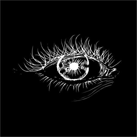 Illustration with eye in the style of hatching. An idea for a tattoo. Vettoriali