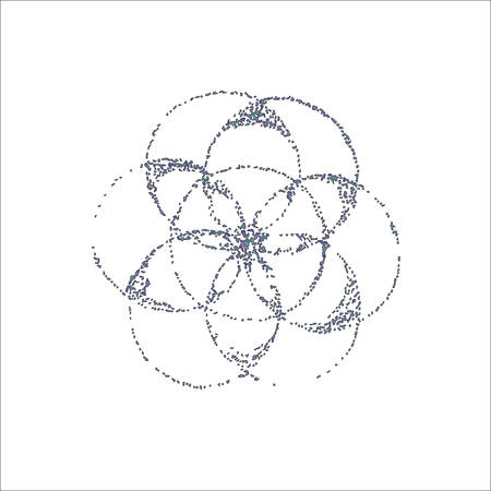 Gradient illustration of the flower of life in the style of dotwork. Tattoo idea.