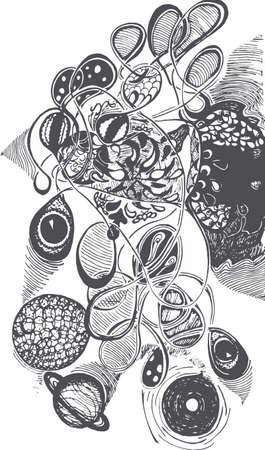 Black and white picture of psychedelic travel, Eyes, planets, patterns, waves. Vektoros illusztráció