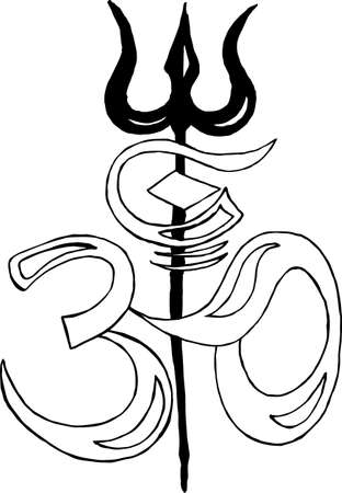 Black and white picture of Ohm and Shivas trident. Illustration