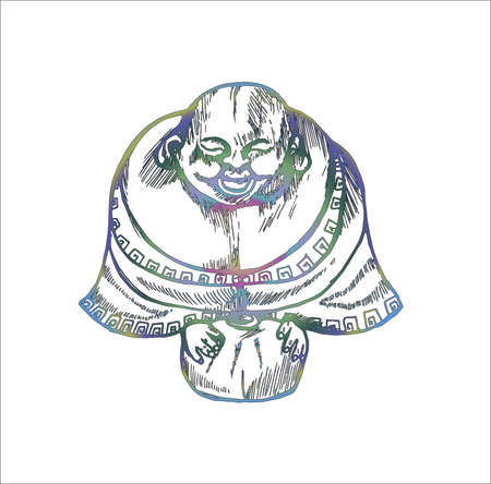 Color illustration with a laughing hotem. Symbol of prosperity. Illustration