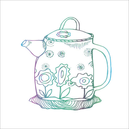 Gradient illustration of a flower decorated teapot in the old style. 写真素材 - 124720332