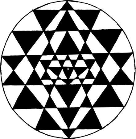 Black white illustration of Shri Yantra. Triangles and concentration. Tattoo idea.