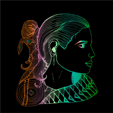 Girl in profile in Indian clothes. Color gradient drawing.