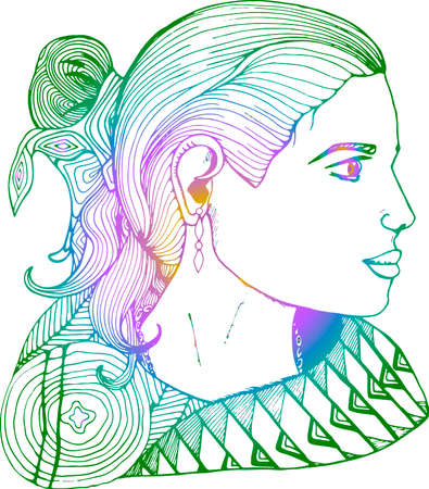 Girl in profile in Indian clothes. Gradient picture.