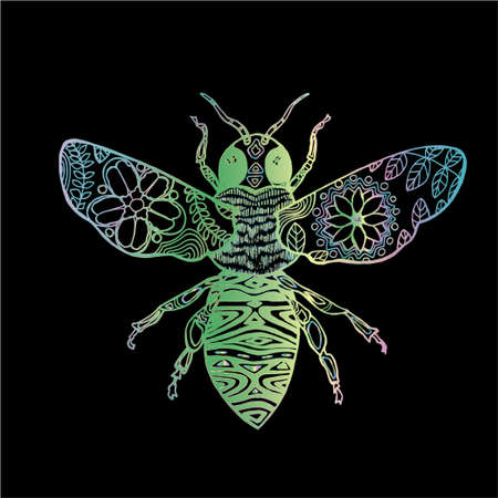 Gradient illustration of a cosmic bee. Banque d'images - 130015511