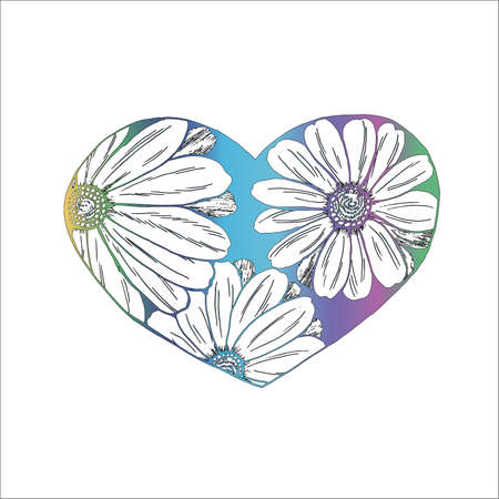 Picture of daisies painted in a heart. An idea for a tattoo. Stock Illustratie