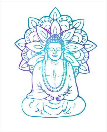 Neon illustration of a meditating mandala buddha. Mandala in the style of sentangle. Street art
