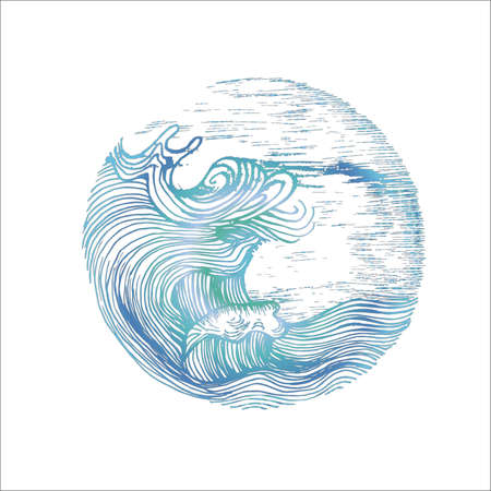 Neon illustration of sea waves and sky in hatching style. Tattoo idea.