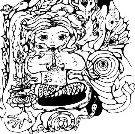 Black and white picture  of a meditator praying person, psychedellic animals, ornaments, patterns, magic. Çizim