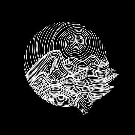 Black white illustration of sea waves and sky in hatching style. Tattoo idea.