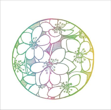 Color sakura pattern. Natural cosmic flower motive.