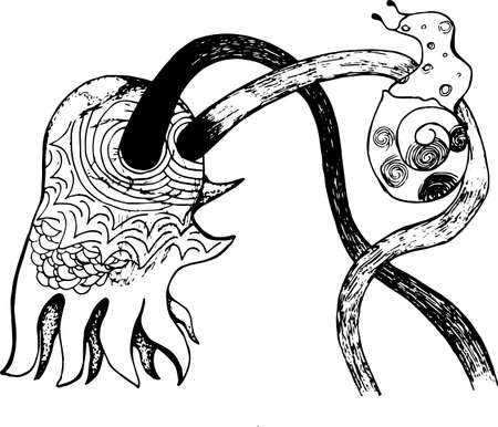 An illustration of a psychodellic octopus with a snail. Tattoo idea