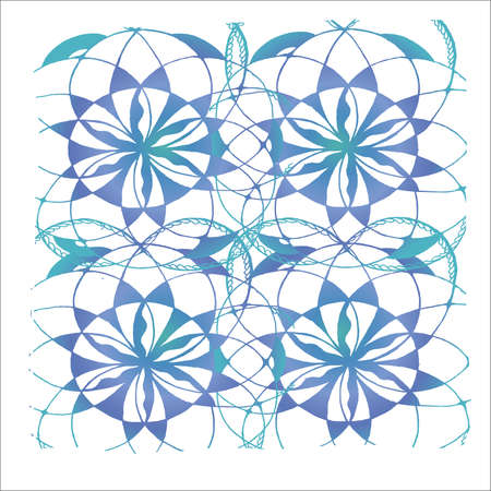 Neon pattern of mandala flower. Background pattern. Illustration