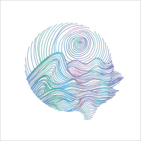 Neon illustration of sea waves and sky in hatching style. Tattoo idea. Chalk on a blackboard.