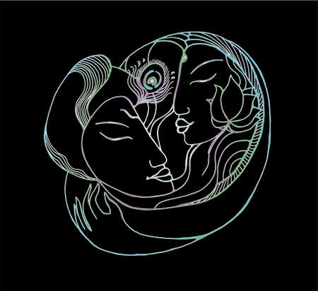 Gradient picture of a couple. Color illustration natural love