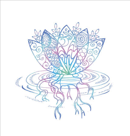 Gradient lotus illustration. Pattern, om and flower