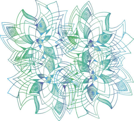 Color gradient illustration of a mandala flower with patterns, ornaments, an idea for a tattoo.