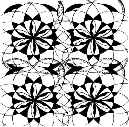 Black-white picture of mandala flower. Graphic background.