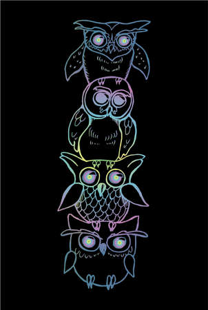Gradient illustration of a totem of owls. Owls on top of each other Illustration