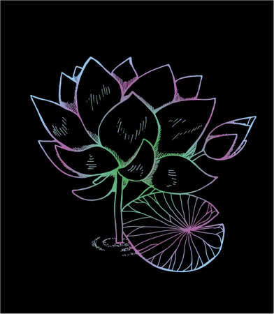 Color illustration of lotus flower in style. Neon lotus pattern