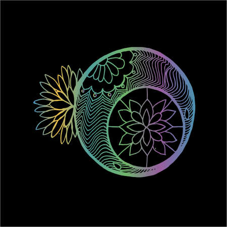 Drawing with the moon - a mandala with patterns and flowers.  イラスト・ベクター素材