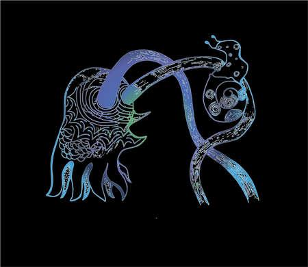 Neon illustration of a psychodellic octopus with a snail. Tattoo idea