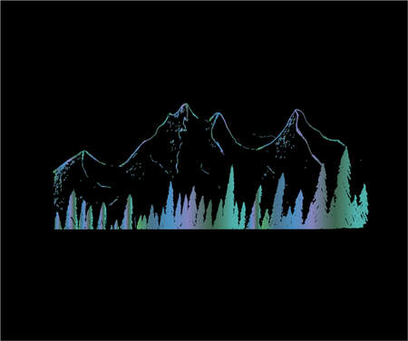 Neon illustration of mountains and trees. Tattoo idea.
