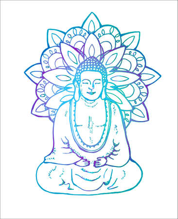 Neon illustration of a meditating mandala buddha. Mandala in the style of sentangle. Street art